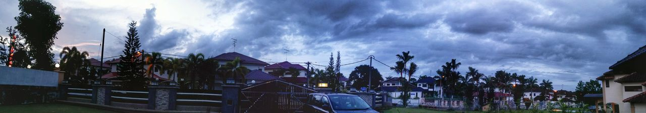 As evening is upon us and the sun sets. A Panoramic Photography view just outside the house. The transition of Clouds And Sky .