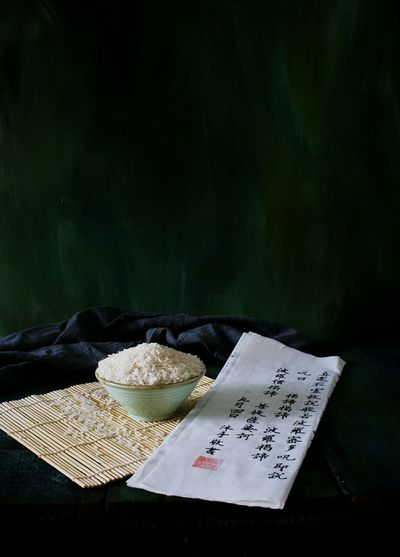 Close-Up Of Bowl Of Rice On Table