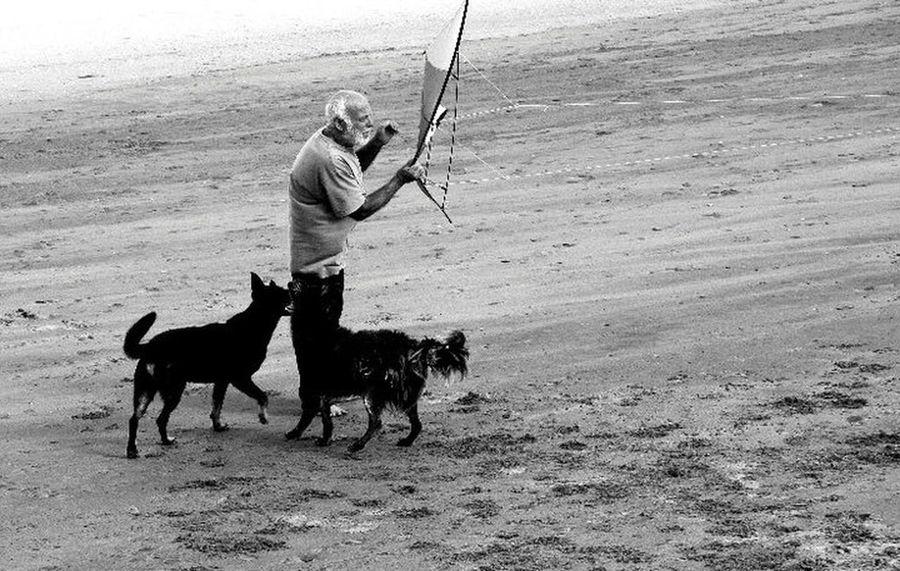 Barrilete Barrilete Villa Gesell Inchfoto Bnw_captures Bnw_collection Bnw Bnwphotography Bnwmood Fotoblancoynegro Argentina Full Length Men Sport Athlete Beach Sand Dog Pets Sea