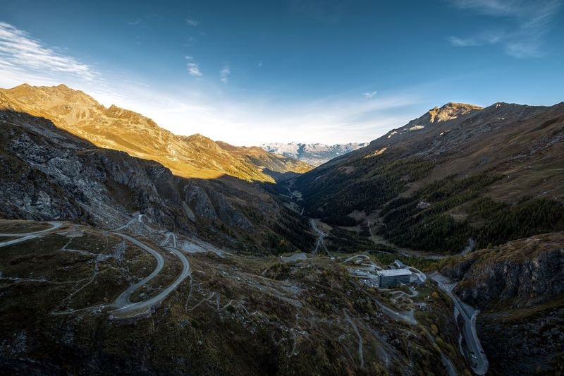 Formation Mountain Peak Travel Outdoors Remote Road Landscape Mountain Range Mountain Mountain Road Sunrise First Sunlight Valley Alps Swiss Alps