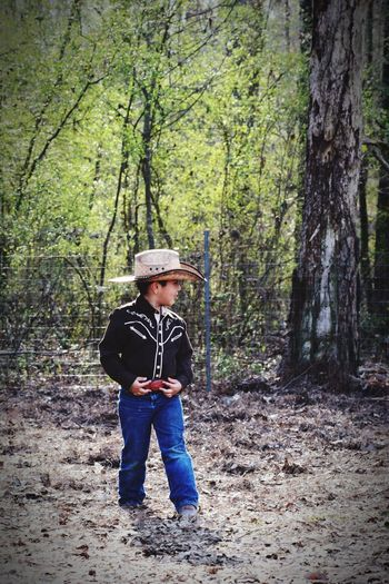 Cowboy Nephew ♡ Forest Tree Full Length Hat One Person Nature Day Flat Cap