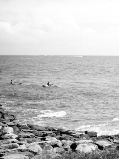 This Was Kayak Bnw Two Kayaks In The Water Horizon Over Water Ocean Coastline Outdoors This Is Kayak Black And White Black And White - Sport