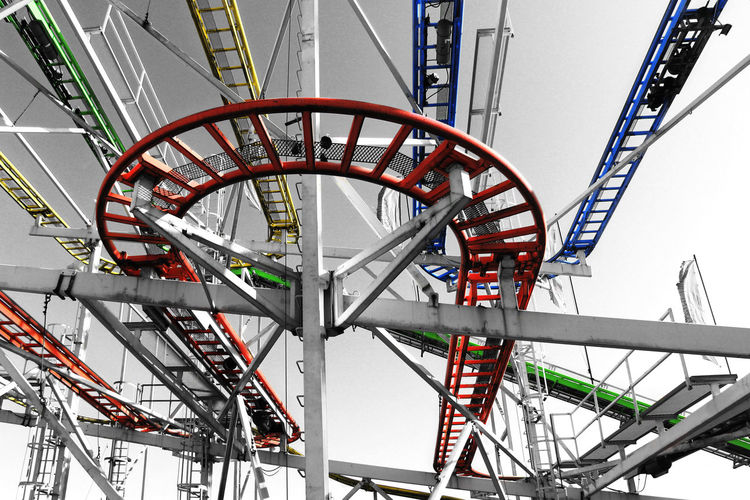 Low Angle View Of Rollercoaster Tracks