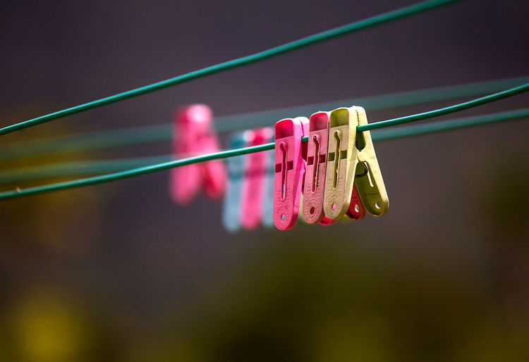 Cable Clip Clips On Wire Close-up Clothesline Clothespin Focus On Foreground Group Of Objects Hanging Multi Colored No People Plastic Red Selective Focus Still Life EyeEmNewHere