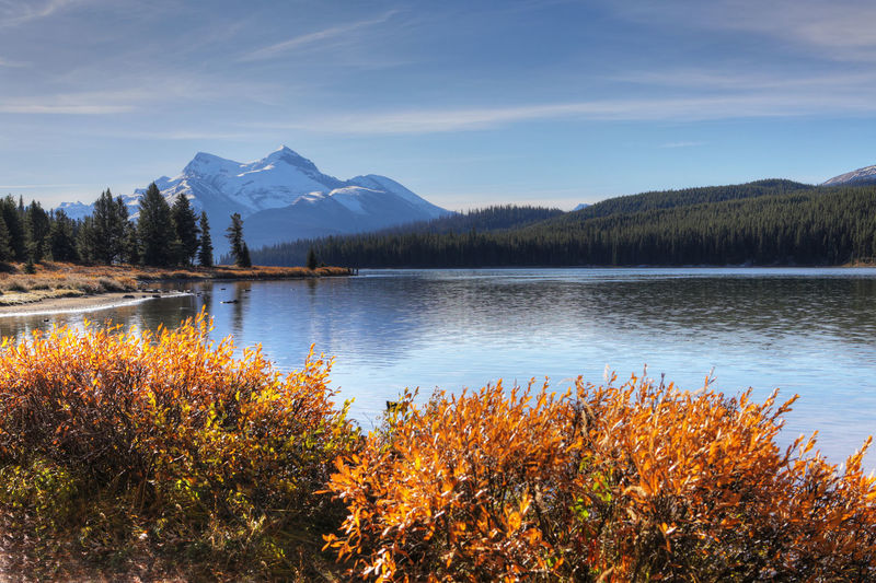 Scenic view of lake by mountains against sky during autumn