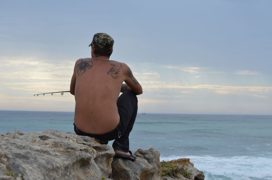 fishing time - Taking Photos Rock Formation Water_collection Beauty In Nature Outdoors Portrait Of A Man  Man Fishing