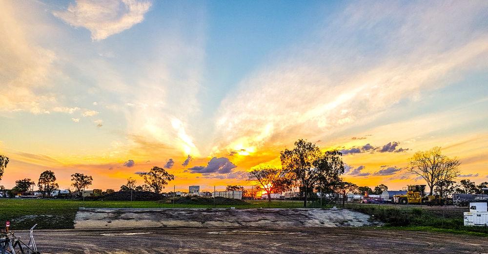 Spring Time Hustle Oil Pump Sunset Tree Water Multi Colored Rural Scene Sky Cloud - Sky Landscape