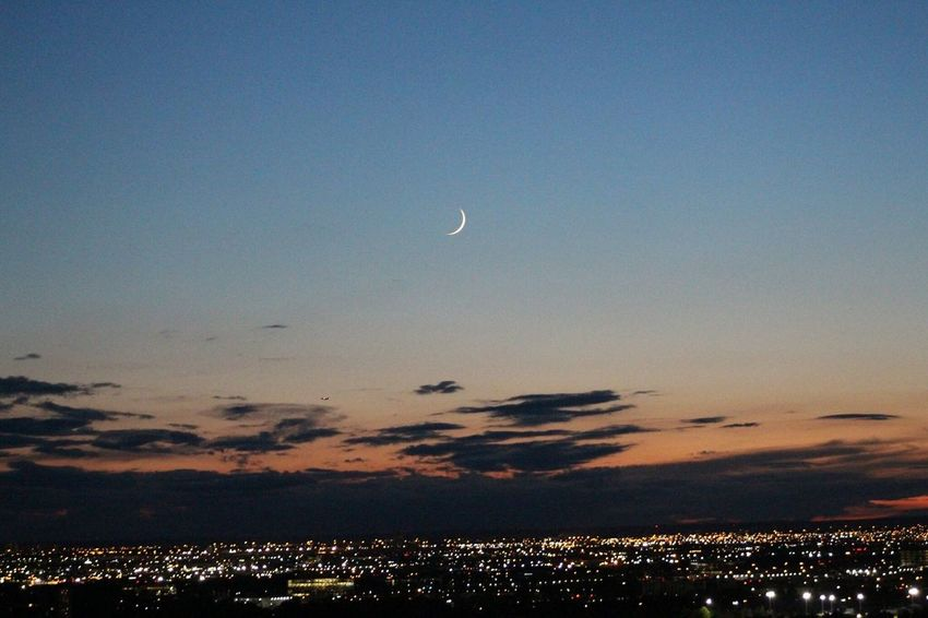 Moon Beauty In Nature Scenics Nature Sky Tranquil Scene Tranquility Sunset No People Night Outdoors Crescent Half Moon Astronomy
