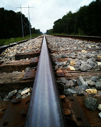 Railroad Track Rail Transportation No People Day Parallel Sky Tree outdoorsRailroad Track Transportation Railroad Ties Diminishing Perspective Grass Bridge - Man Made Structure Low Angle View Louisiana Close-up Tranquility