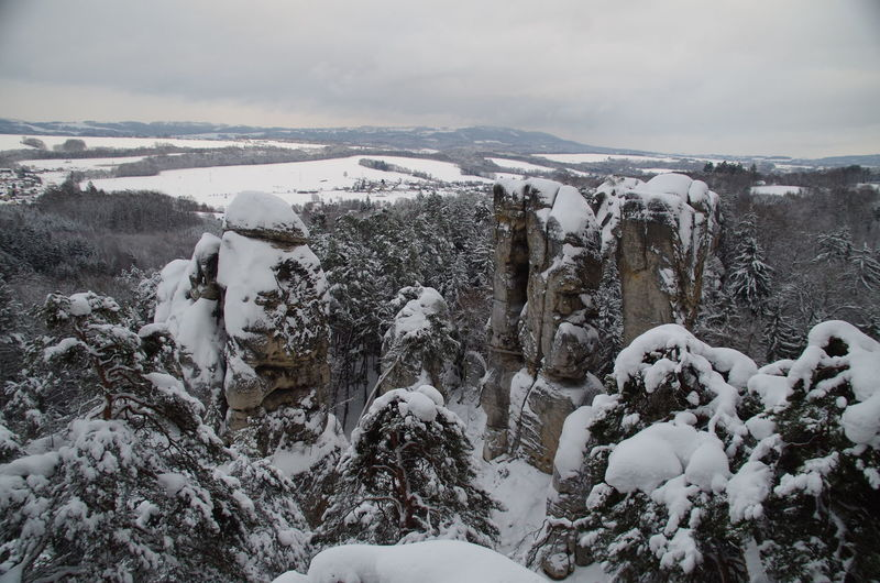 Sandstone cliffs in winter, Bohemian Paradise, Czechia Beauty In Nature Bohemian Paradise Central Europe Central European Climate Cloud - Sky Cloudy Cold Temperature Czech Republic Czechia Day Landscape Nature No People Outdoors Scenics Snow Snowcapped Mountain Winter
