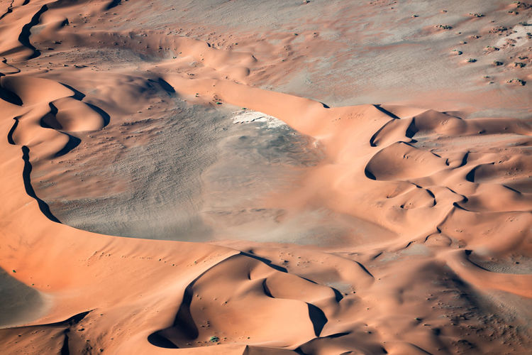High angle view of sand dunes in desert