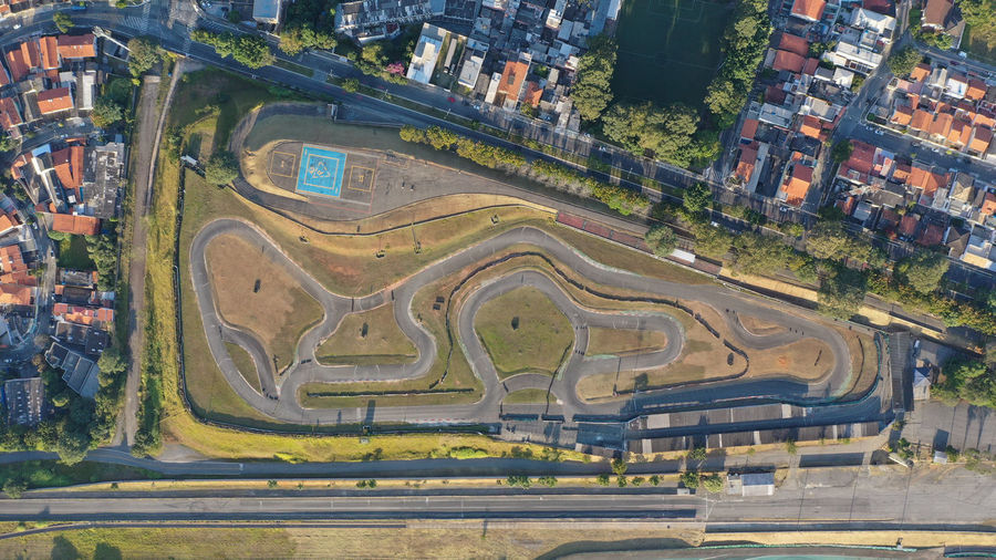 Aerial view of race track in city