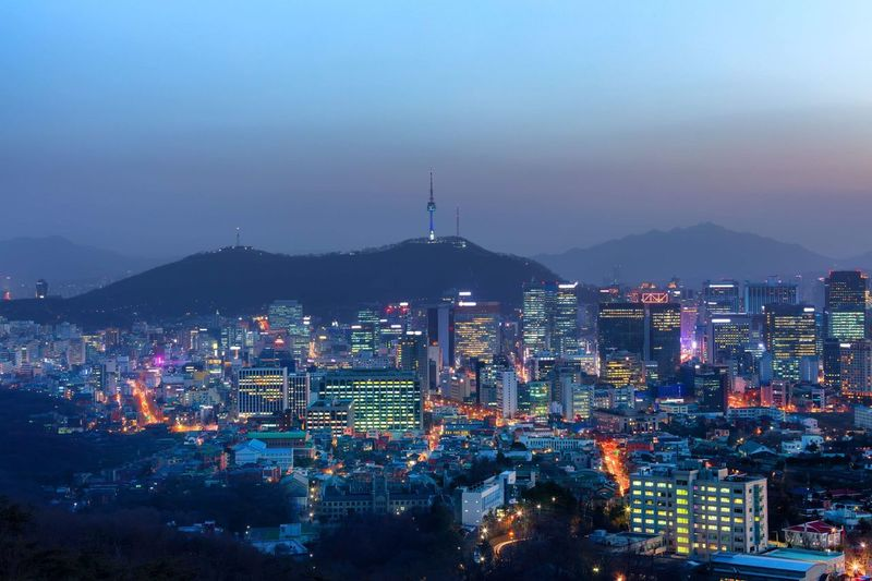 Twilight and viewpoint of Seoul downtown Long Exposure Landmark Traffic Cityscape Korea Seoul Mountain Urban Namsan Landmark Seoul Tower National Park Twilight Twilight Architecture Built Structure Building Exterior Cityscape Sky City Illuminated Night Mountain Skyscraper Landscape Building Dusk Outdoors Office Building Exterior Nature