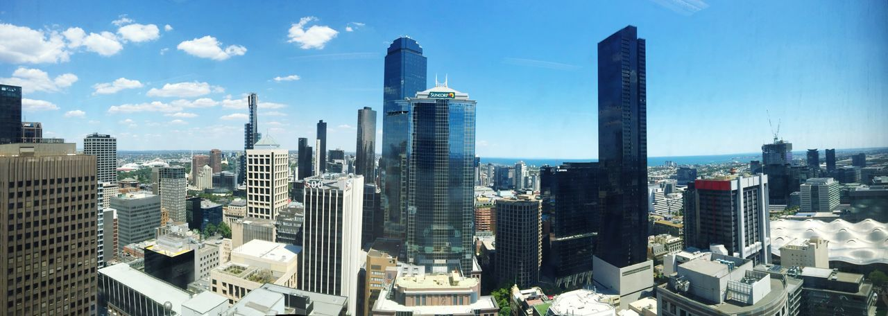The city I love so much! Melbourne Skyscrapers Check This Out Hello World Building Melbournecbd Australia Enjoying Life Panoramic Photography Panoramashot Skyline Blue Bluesky