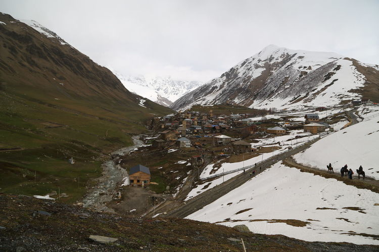 Georgia Mestia/town In Svaneti/Georgia Mountain Snow Cold Temperature Beauty In Nature Winter Sky Scenics - Nature Environment Landscape Nature Snowcapped Mountain Tranquil Scene Mountain Range Day Tranquility Non-urban Scene Cloud - Sky Water No People Outdoors Mountain Peak