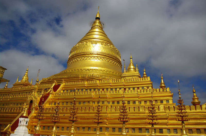 Low angle view of burmese buddhist temple against sky
