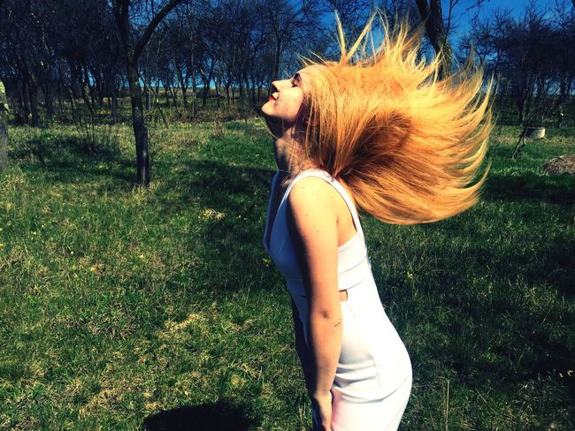Let Your Hair Down Nature Outside Trees Freedom Fun Wind Motion IPhoneography Garden White Dress