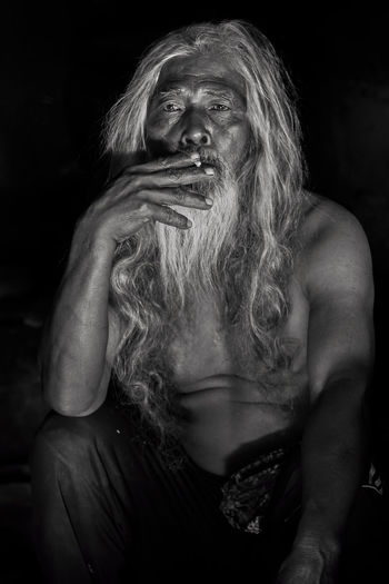 The Old Man at Tamblingan Village, Bali, Indonesia black & white Abandoned Art ASIA Asian  Bali, Indonesia Black Background Close-up Fine Art Human Face Kintamani - Bali Malaysia Old Man Photography Portrait Relaxing Segrate Smooking Tamblingan Lake Vilage