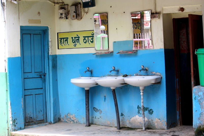 Three in a row ASIA Bathroom Blue And White Blue Door Hygiene In A Row Lavatory Nepal Restroom Side By Side Sink Sinks Travel Travel Photography Water Tap Repetition Repeat Art Is Everywhere
