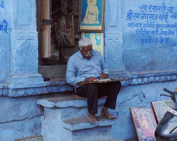 India Blue City Trip Travel Jodhpur Men Shopkeeper