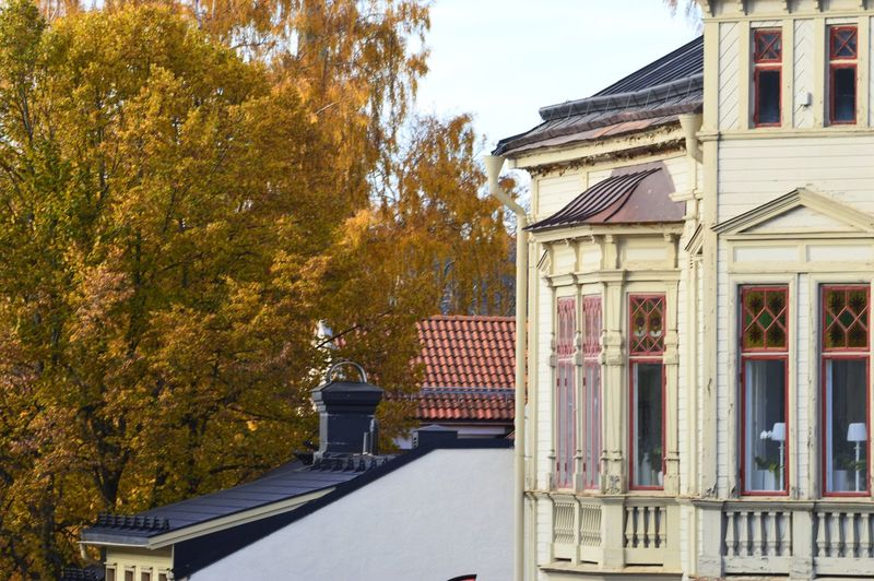Exterior of building against sky during autumn