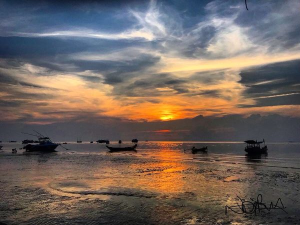 Sunset Koh Tao Long Tail Boats Thailand Sunset Sky Mode Of Transport Orange Color Transportation Cloud - Sky Beauty In Nature Nautical Vessel Scenics Nature Water Sea Boat Reflection Tranquility Tranquil Scene Outdoors Silhouette No People