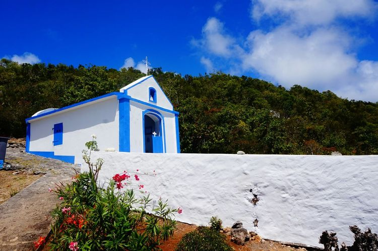 Chapel Calvaire  Alone At The Top Blue And White Blue Blue Sky Sunny Day Tree Religion Blue Façade Mountain Sky Architecture