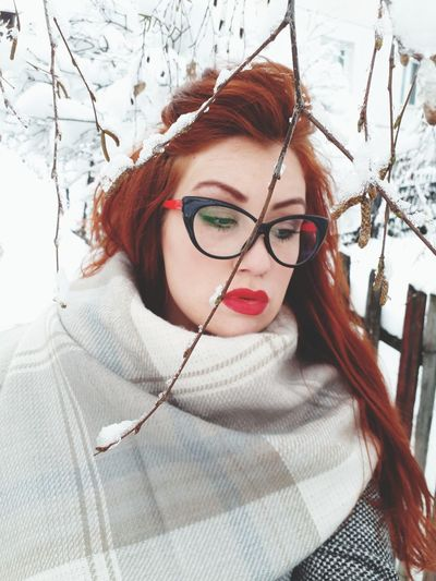 Eyeglasses  Redhead Adult Only Women Red Winter Portrait One Person Beauty Adults Only Headshot Human Body Part Beautiful Woman Young Adult Beautiful People One Woman Only One Young Woman Only People Red Lipstick Outdoors
