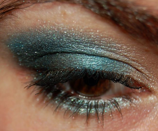 Close-up of woman eye with make-up