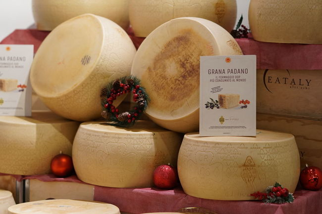 Rome, Italy - December 22, 2017: wheels of Grana Padano cheese in Eataly shop. Grana Padano is a hard, slow-ripened, semi-fat cheese from Italy, comparable to Parmigiano Reggiano Vegetarian Food Cheese Dairy Product Food Food And Drink Freshness Grana Padano Indoors  No People Food Stories