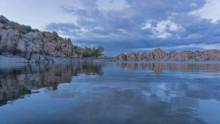 Watson Lake Prescott, AZ Landscape Granite Rocks Rocks Reflection Blue Sky Dusk