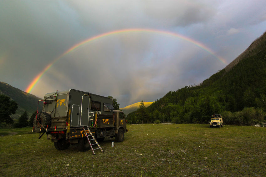 Overlander dreams Altay Russia Beauty In Nature Day Double Rainbow Field Nature No People Outdoors Overland Travel Rainbow Scenics Sky Spectrum Transportation