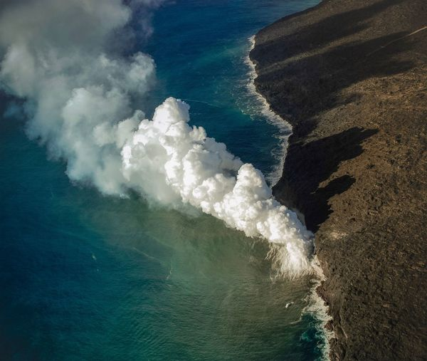 Water Sea Nature Beauty In Nature Wave Day Motion No People Outdoors Beach Scenics Wake - Water Volcano Volcanic Landscape Sky Force Perspectives On Nature