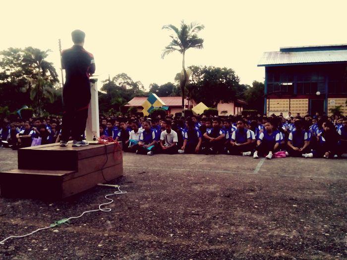 A school assembly.. School Assembly Sekolah Perhimpunan Smksong Students Teachers