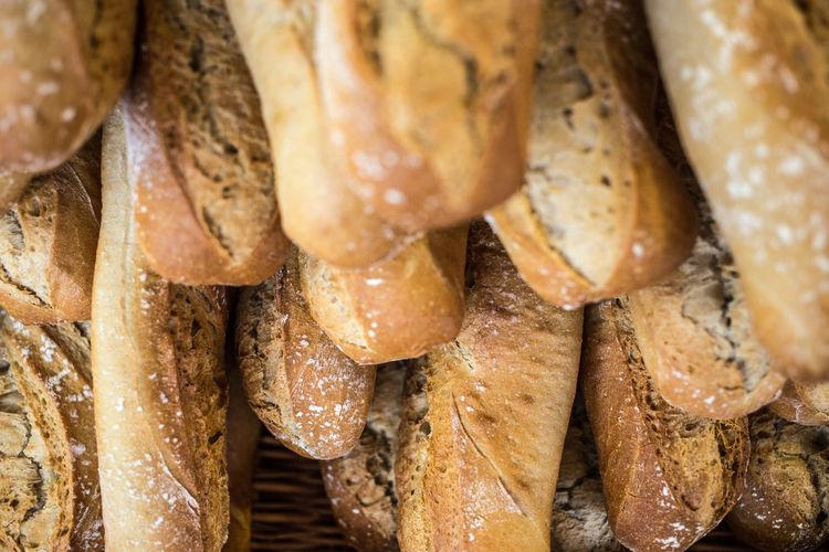 Full frame shot of french baguettes