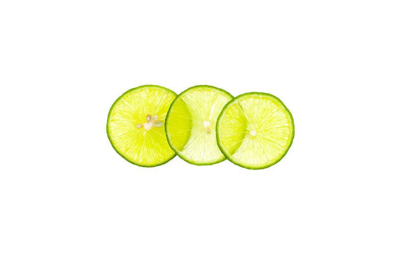 lemon on white background Close-up Copy Space Cut Out Food Freshness Fruit Lime SLICE Studio Shot White Background