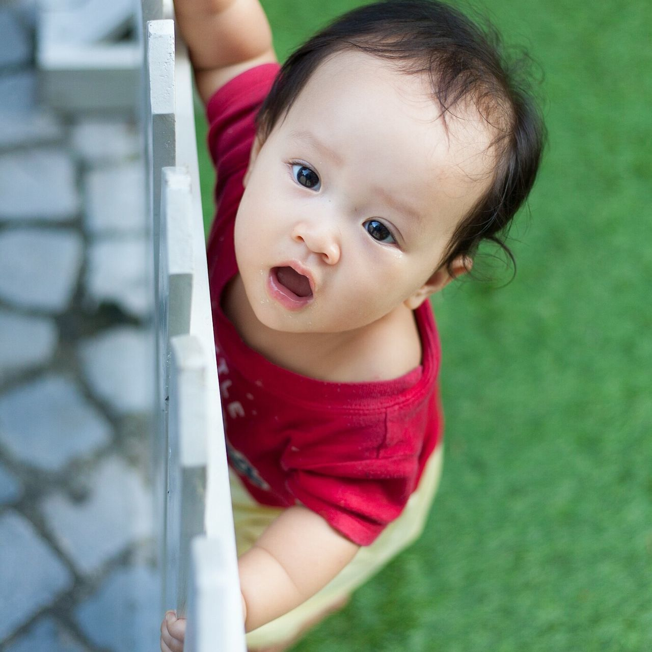 baby, innocence, cute, childhood, real people, babyhood, one person, looking at camera, portrait, day, outdoors, babies only, close-up