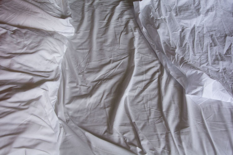 fabric duvet bed Absence Backgrounds Bed Bedroom Comfortable Crumpled Domestic Room Duvet Fabric Full Frame Furniture High Angle View Indoors  Linen Messy No People Pattern Pillow Sheet Textile White Color Wrinkled