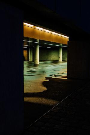 Architectural Column Architecture Built Structure Illuminated Night No People Outdoors Parking Garage Pillar Road Transportation Underground