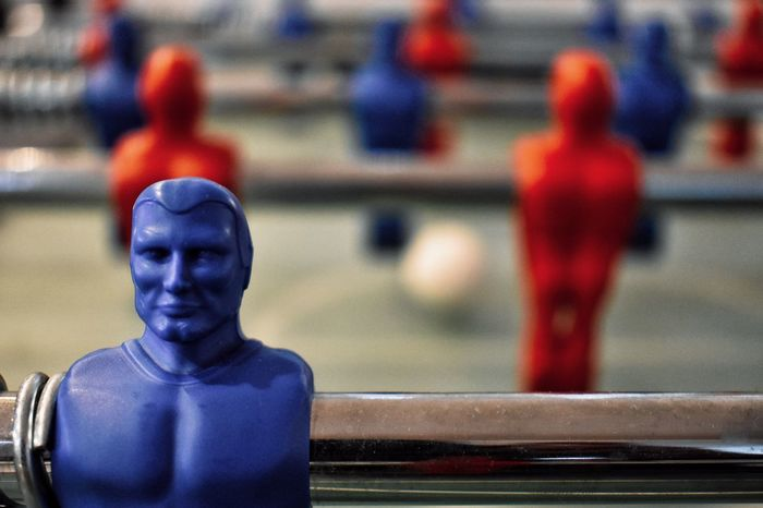 Human Representation No People Close-up Football Game Game Colours Blue Color Red Colour Table Game Table Football Pass Time Enjoying Time Playing Rivality One Against Another Plastic Material