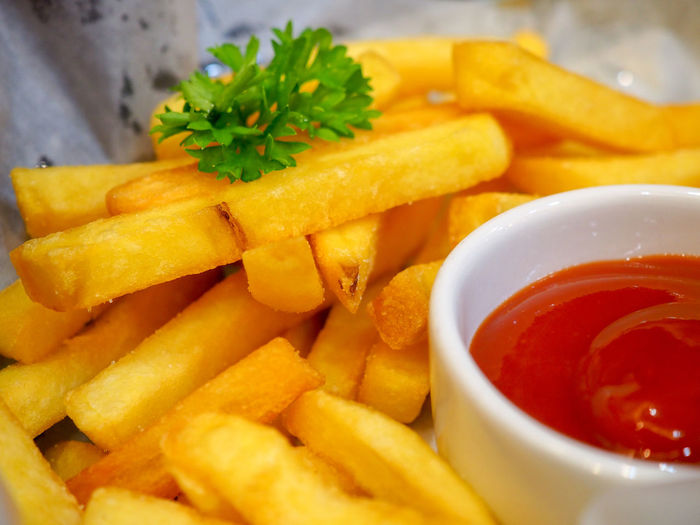French fries and ketchup red Bowl Close-up Condiment Deep Fried  DIP Fast Food Fast Food French Fries Food Food And Drink French Fries Freshness Fried Herb Ketchup No People Potato Prepared Potato Ready-to-eat Sauce Savory Sauce Snack Temptation Tomato Sauce Unhealthy Eating Vegetable