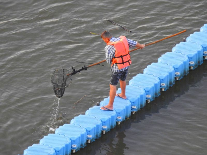 Trash keeper. BKK.TH. Travelling Thailand Multi Colored River High Angle View Standing Keeper Water Adult Adult Man