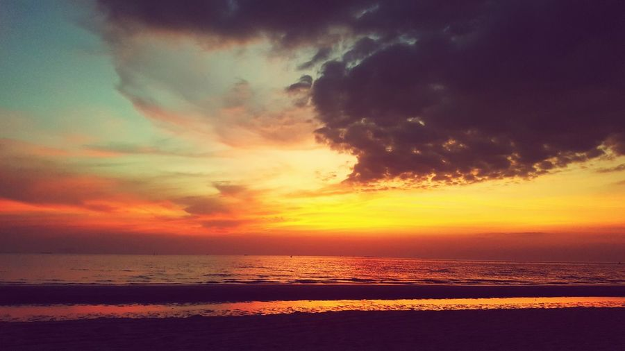 Sunset on the beach,Sky Sunset Sea Beauty In Nature Scenics Dramatic Sky Nature Water Horizon Over Water Outdoors Tranquility Sky No People Cloud - Sky Beach Astronomy First Eyeem Photo