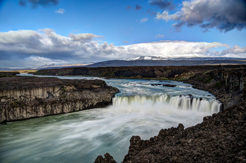 Iceland Iceland Memories Beauty In Nature Cloud - Sky Day Iceland Trip Iceland_collection Landscape Motion Nature No People Outdoors Scenics Sky Tranquil Scene Tranquility Water Waterfall þjófafoss