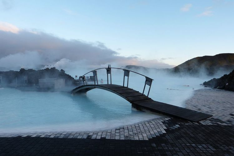The Blue Lagoon in Iceland EyeEmNewHere Blue Lagoon Grindavik Iceland Bridge Geothermal Spa Lava Field Man Made Water EyeEmNewHere