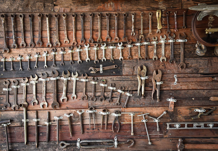 Craftsman tool Wrench Locking Pliers and others / auto service mechanic tools with old wrench on wooden wall - Set mechanical tools Craftsman using for working or repair in auto car service Tools Mechanic Set Auto Repair Tool Mechanical Car Craftsman Metal Equipment Construction Steel Silver  Industrial Hardware Box Hand Group Iron Screw Workshop Wrench  Many Work Industry Using Object Collection Metallic Vehicle Craft Hobby Engineering Automobile Service Background Dirty Hammer Fix  Wooden Factory Professional Antique Driver Old Maintenance Restoration Vintage Different