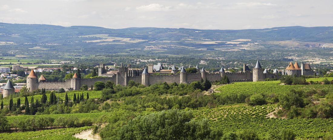Carcassonne walled town, Aude, France Architecture Aude Built Structure Carcassone, France Carcassonne Carcassonne Castle History Landscape Mountain Range No People Outdoors Scenics