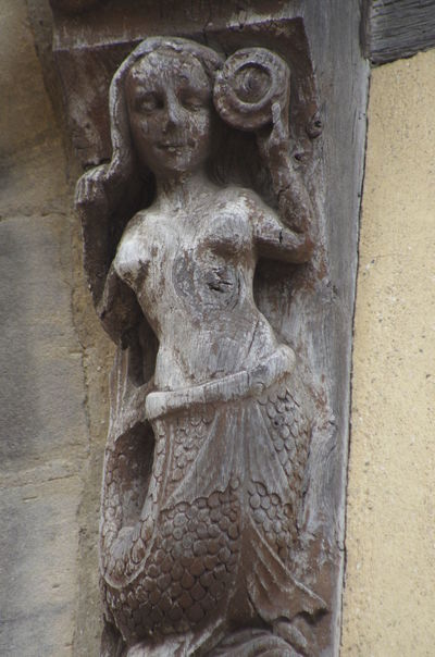 France Frankreich ♥ Normandie Architecture Art And Craft Built Structure Close-up Day Gargoyle History Holzfigur Human Representation Low Angle View No People Normandy Outdoors Place Of Worship Religion Sculpture Spirituality Statue Stone Material