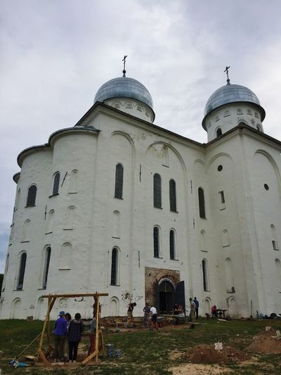 Students take part in an archeological dig next to St George's Cathedral at St George's Monastery outside Veliky Novgorod Church Architecture Rus2015tc Traveling Streetphotography