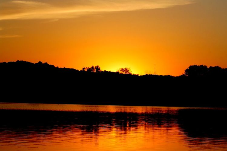 Beauty In Nature Day Evening Evening Sky Lake Landscape Monroe Lake No People Orange Color Outdoors Reflection Saturated Color Scenics Silhouette Sky Sunrise_sunsets_aroundworld Sunset Sunset_collection Sunsets Tranquil Scene Tranquility Travel Destinations Tree Water
